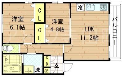 アクロス上町東アパートメントII(旧KTIレジデンス鶴橋B棟)の間取り図