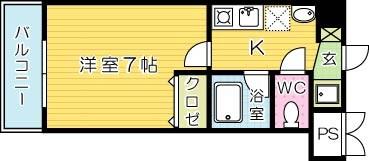 吉野町ワンルームマンションの間取り