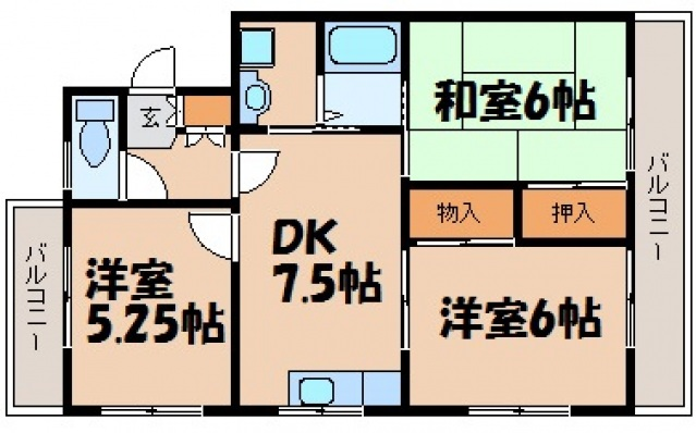 第1ハイツ東青崎の間取り