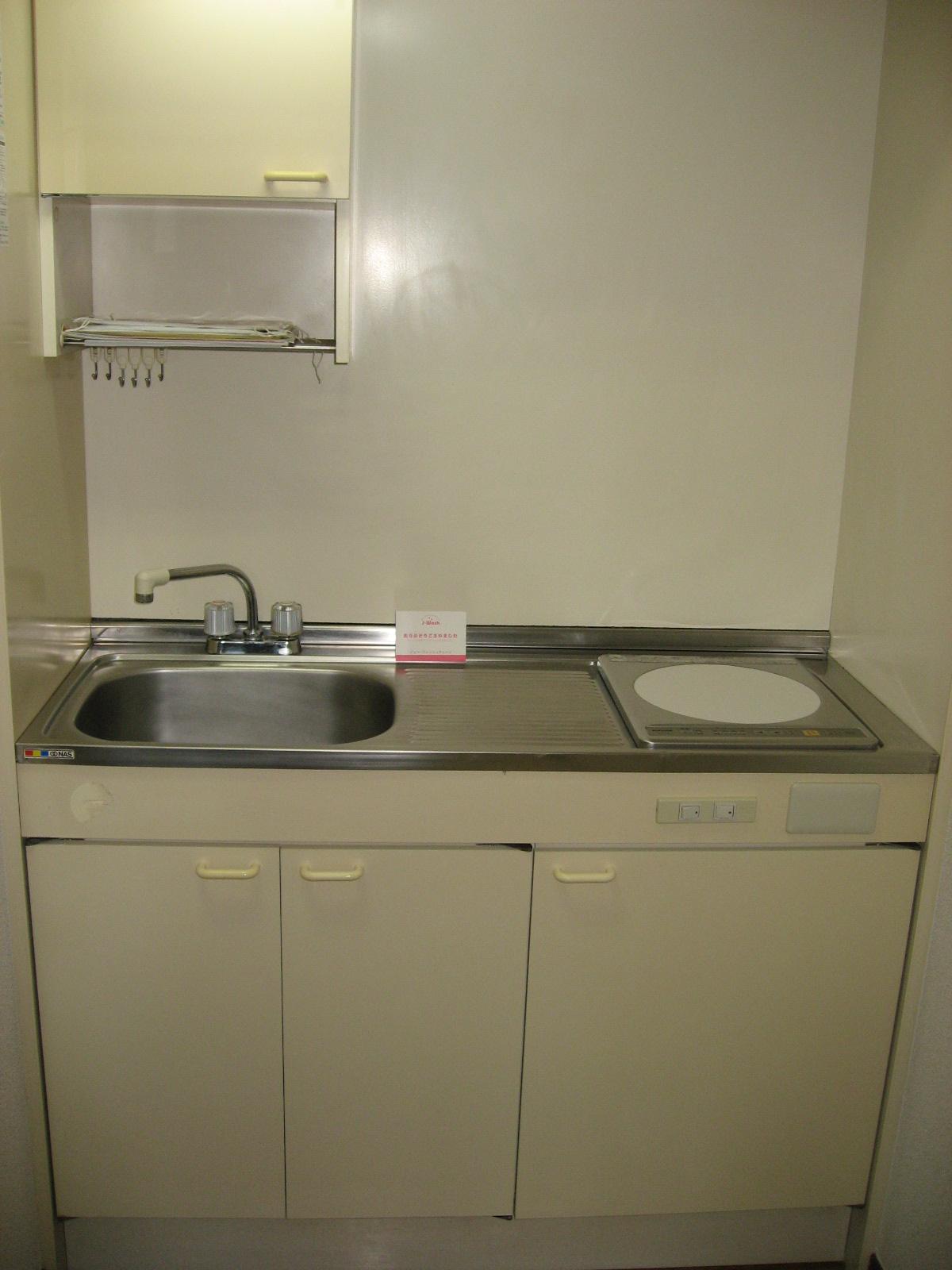 キッチン IH電磁調理器です。上下には収納があります!