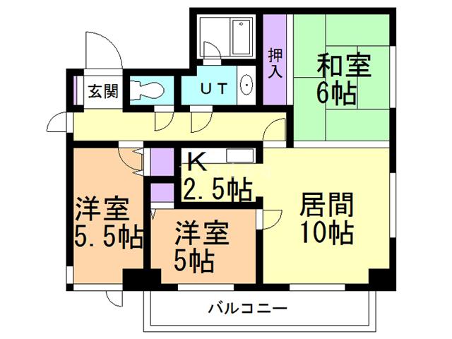 ライオンズマンション函館湯川第3の間取り