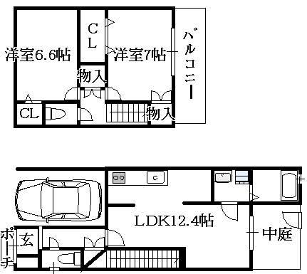 鶴橋リノベーション貸家の間取り図