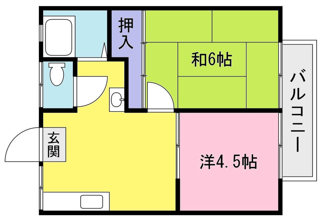 ハイツ山本 【初期費用5万円以下】の間取り