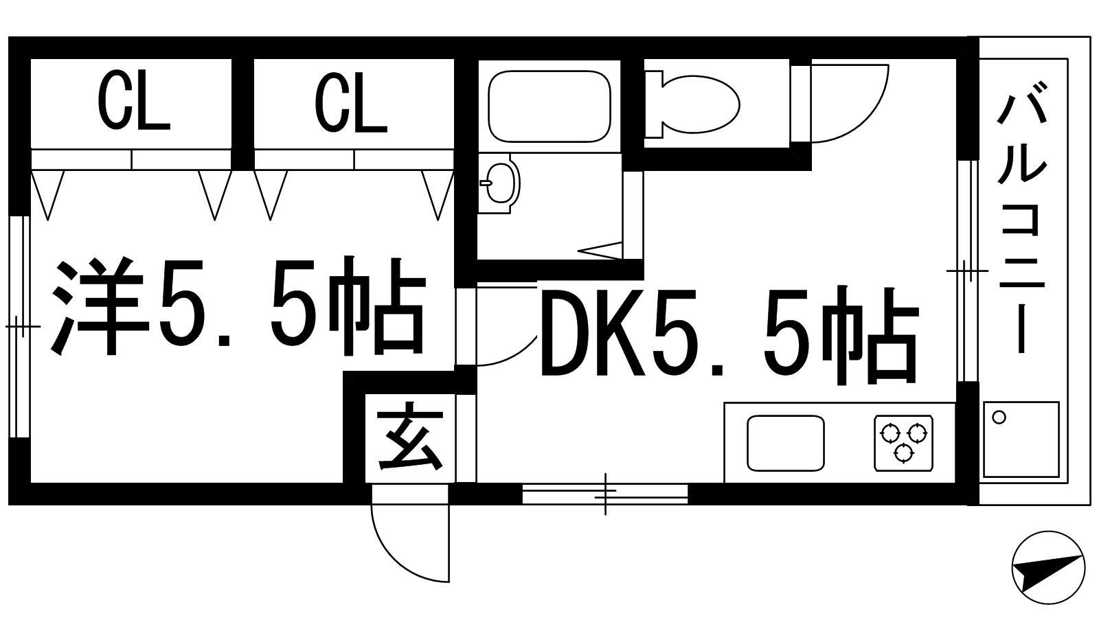オカダハイツパート2-1号棟の間取り