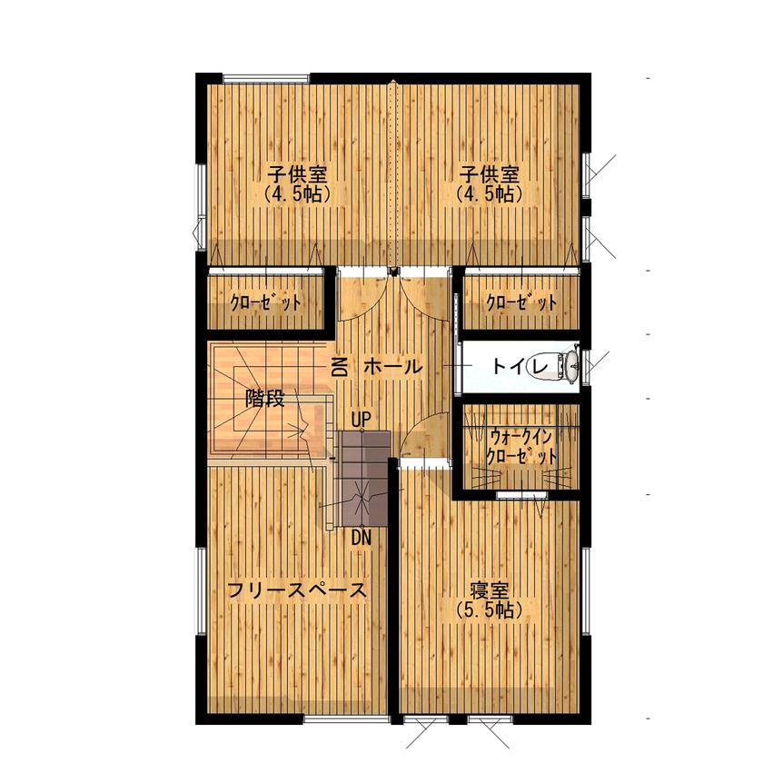 約40坪の変形地を有効利用。国産ニレ無垢材・塗り壁の外壁で大人シンプル。ハーフ吹き抜けで小屋裏を設置画像5