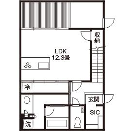 【延床28坪・1945万円】窓がない個性的な外観。室内は明るく、プライベート感満点のシンプルハウス画像4