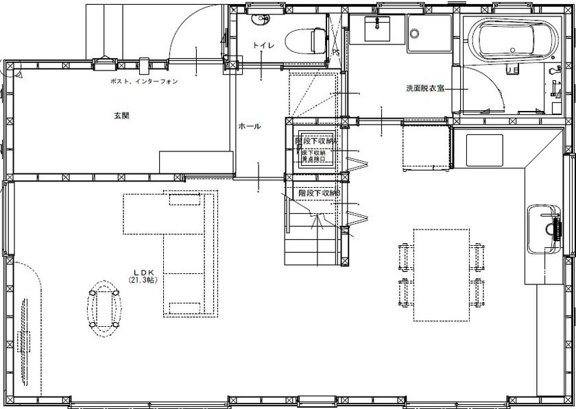 【間取り有/2000万円台前半】敷地に対して建物は斜めに設計。芝生や果樹を育て、森に佇む一軒家のように画像4