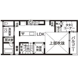 「西区×中庭つき間取り」中庭に20畳超のリビング、土間収納やロフトまで。30坪台の敷地で理想を叶えた家画像5