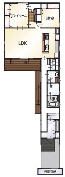 【2000万円台/間取り図有】27m長屋根の二世帯住宅。家族との距離感を保つ平屋風和モダンの家画像4
