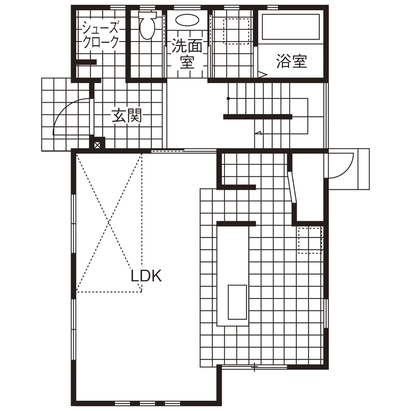 【間取図/無垢床&床暖房/男前スタイル】自由設計を満喫したナチュラル&ヴィンテージなデザイン空間画像4