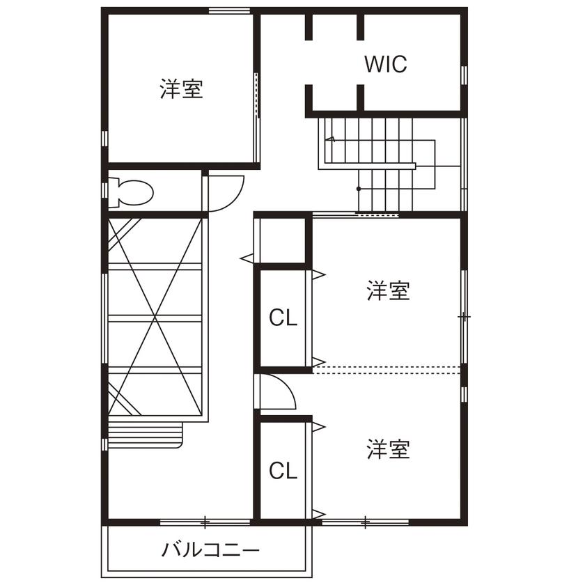 【間取図/無垢床&床暖房/男前スタイル】自由設計を満喫したナチュラル&ヴィンテージなデザイン空間画像5
