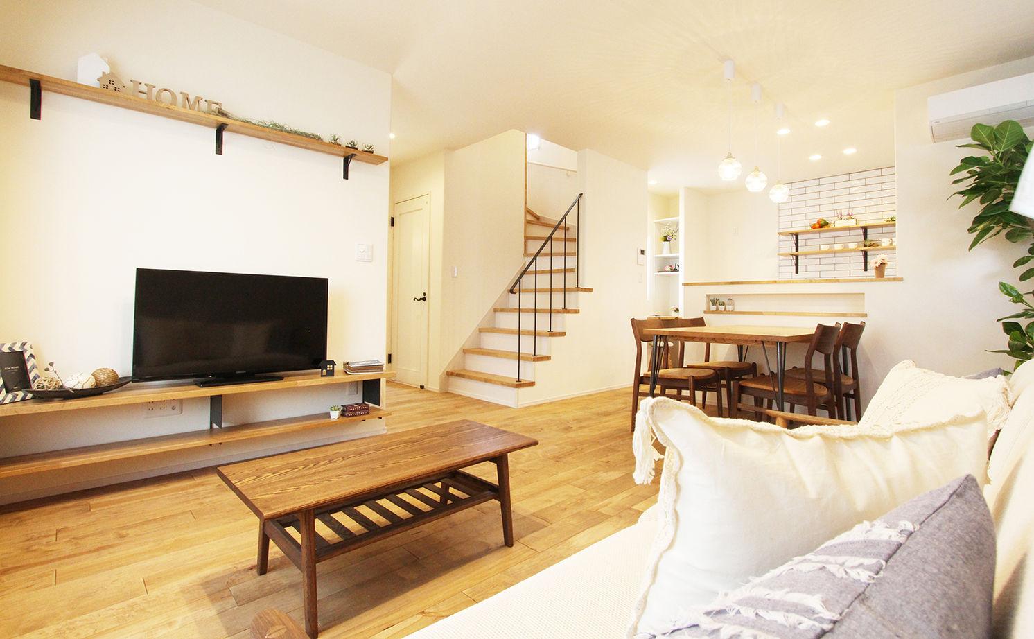 【間取図/無垢床&床暖房/家カフェ風/ヌック】30坪台のコンパクトな家でのびのびと豊かに暮らす画像1