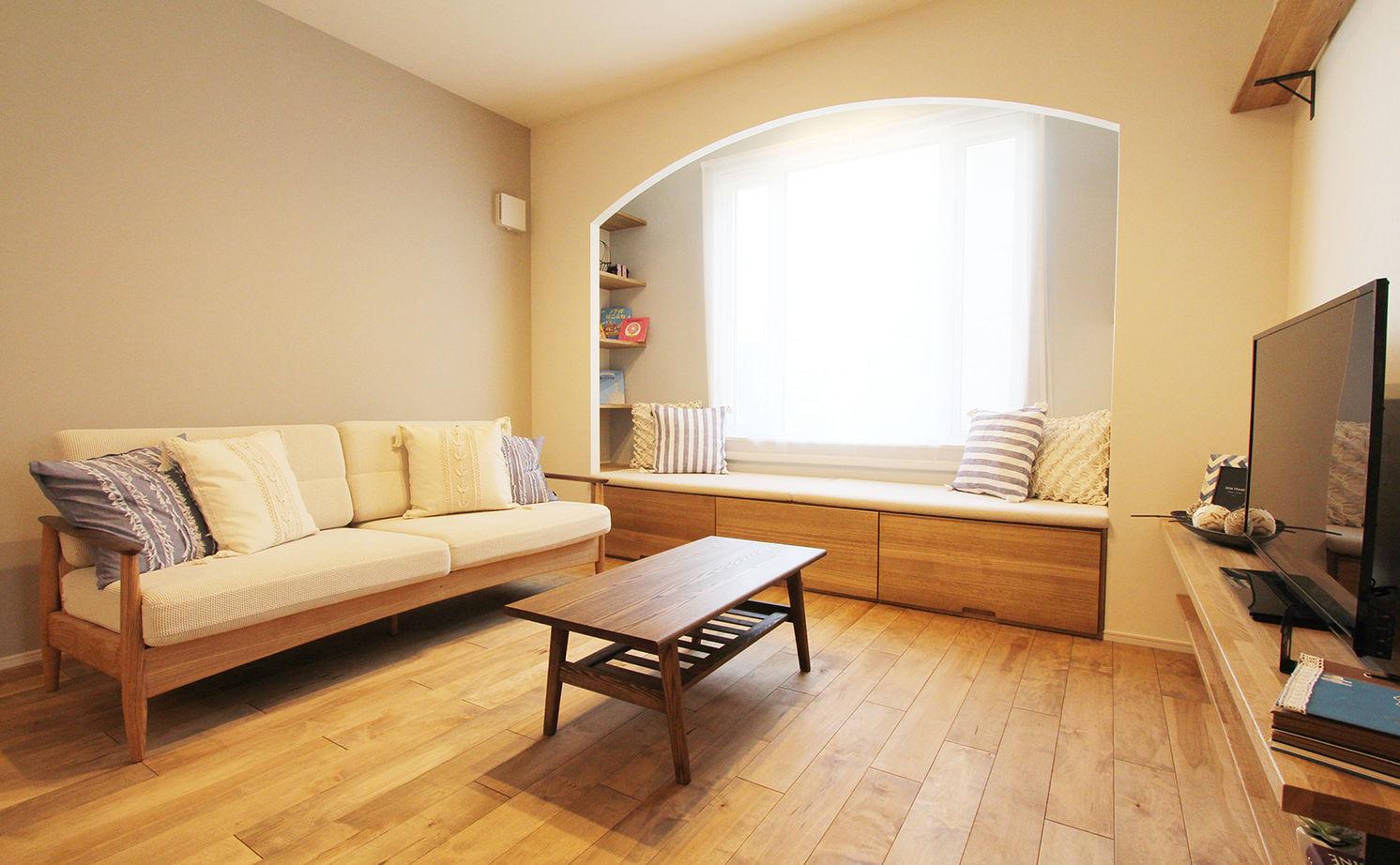 【間取図/無垢床&床暖房/家カフェ風/ヌック】30坪台のコンパクトな家でのびのびと豊かに暮らす画像2