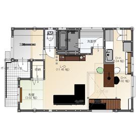 【間取り有/2270万円/家カフェデザイン/吹き抜け/無垢床】難しい敷地条件を克服。シックでかっこいい家画像4