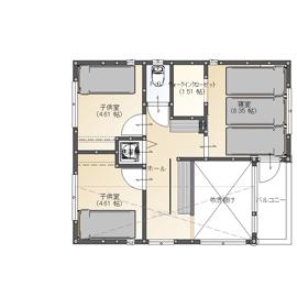 【間取り有/2270万円/家カフェデザイン/吹き抜け/無垢床】難しい敷地条件を克服。シックでかっこいい家画像5