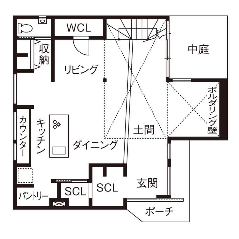 広い土間にボルダリング壁があり、中庭とつながる開放的な家。住宅密集地ながらカーテンレスの暮らしを満喫画像4