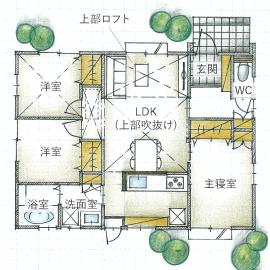 【平屋住宅×おしゃれ×1000万円台】空間を活かしたコンパクト設計のデザイナーズ住宅  間取り図画像4