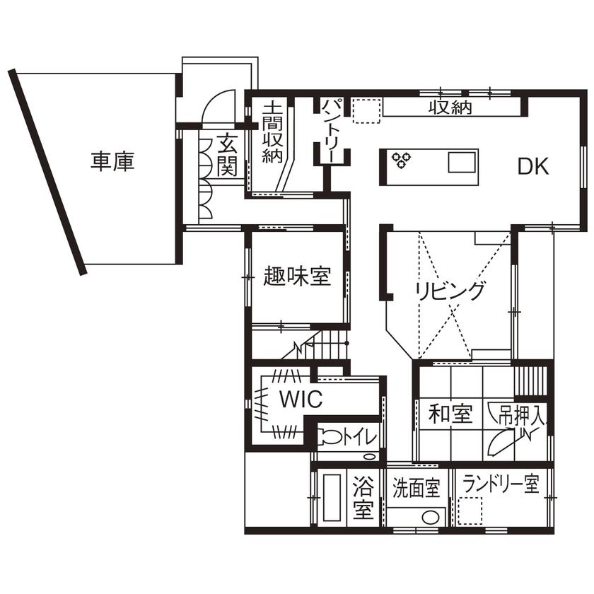 【2000~2500万円】「平屋」風スキップフロアの「ガレージハウス」。空間をタテに広げ、面積以上の開放感!画像4