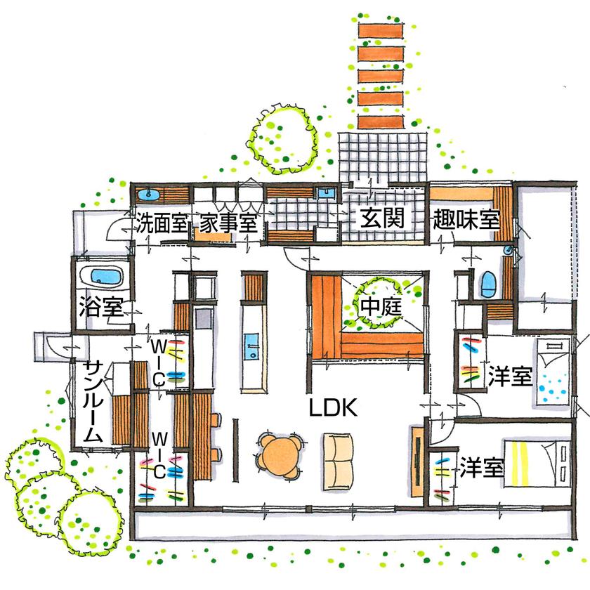 【2000万円台/間取り図有】全方向から眺めてカッコいいロの字の平屋。海外の家をヒントにインテリアも満喫画像4