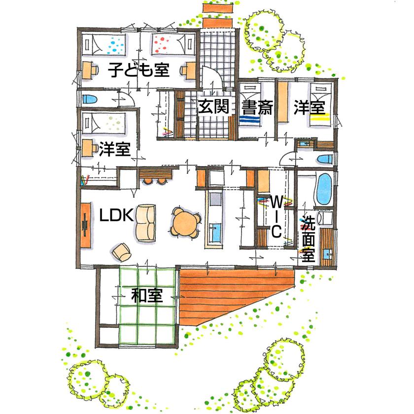 【2000~2500万円/間取り図有】平屋×5つの個室!吹抜けがもたらす開放感と、抜群の洗濯動線がお気に入り画像4