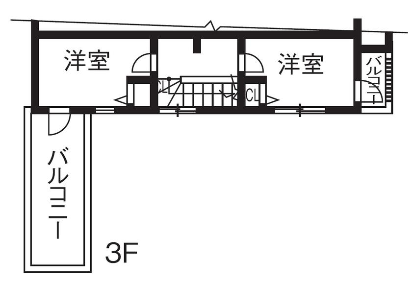 【1000万円台/間取図/変形地】細長いL字の個性的な土地に屋上付きの可愛い3階建て画像6