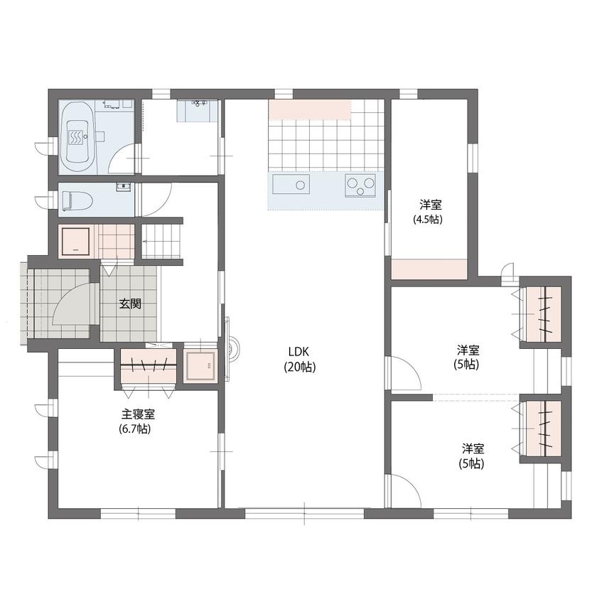 10寸勾配屋根が目印!こだわりのデザインと家事ラクの工夫が満載の平屋の家<27.6坪/間取り図あり>画像4