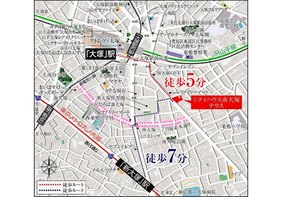 シティハウス南大塚テラスの現地案内図
