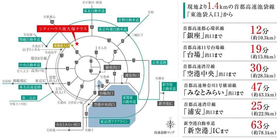 シティハウス南大塚テラスの交通アクセス図