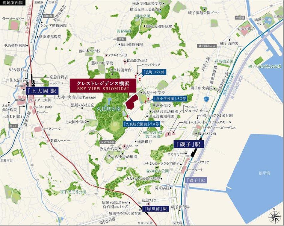 クレストレジデンス横浜 SKY VIEW SHIOMIDAIの現地案内図