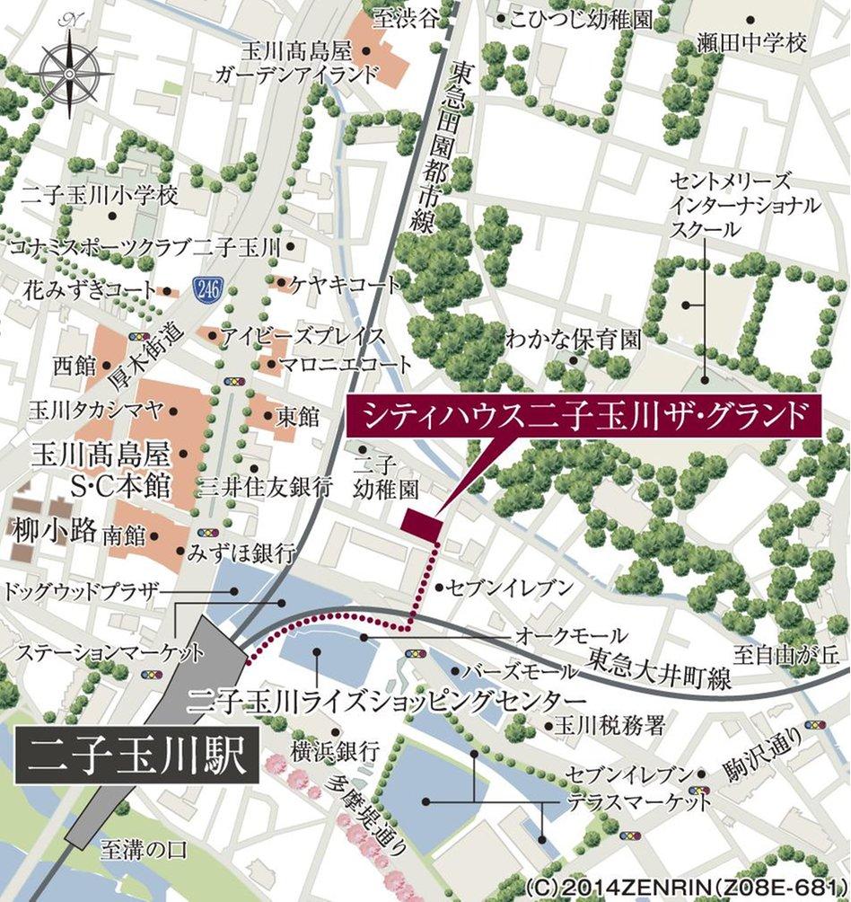 シティハウス二子玉川 ザ・グランドの現地案内図