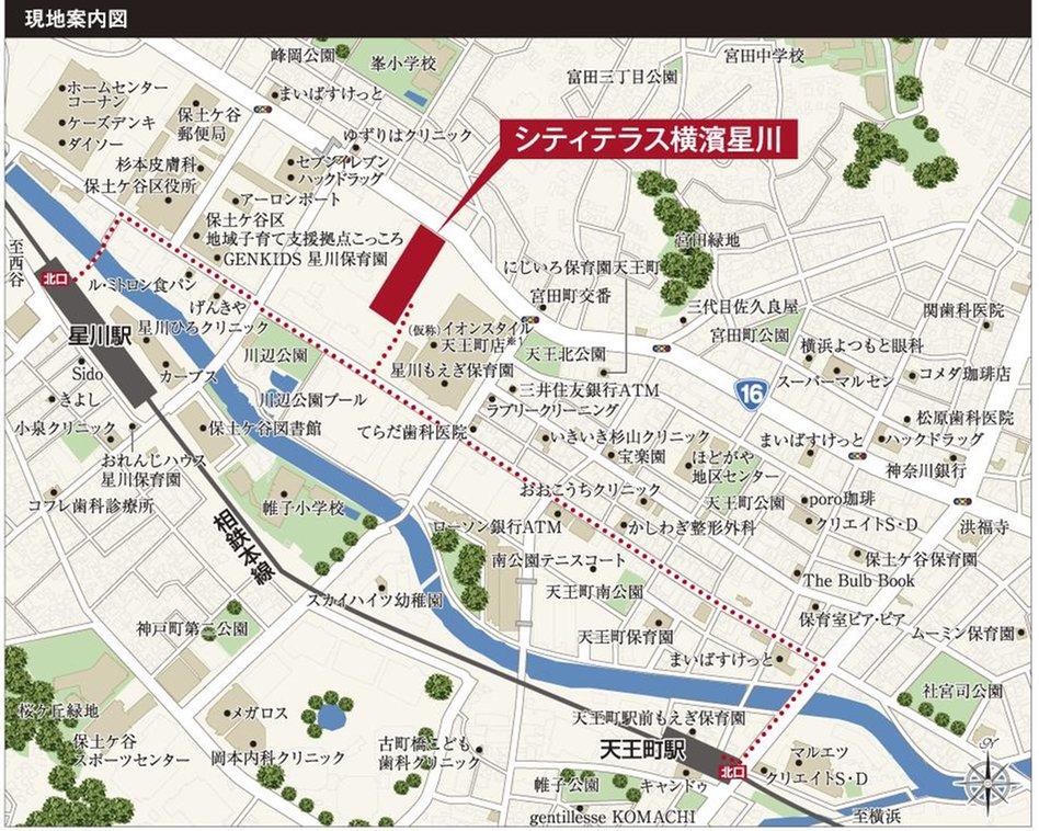 シティテラス横濱星川の現地案内図
