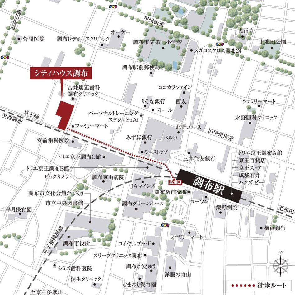 シティハウス調布の現地案内図