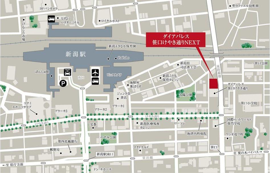 ダイアパレス笹口けやき通りNEXTの現地案内図