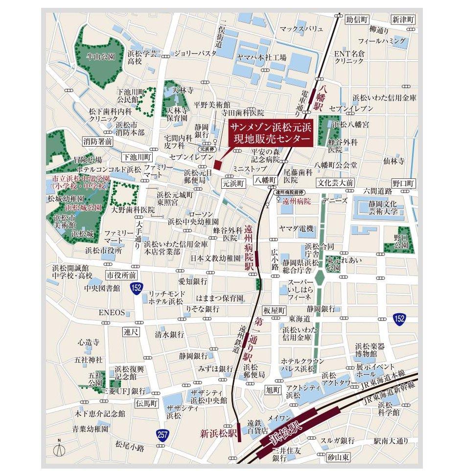 サンメゾン浜松元浜の現地案内図