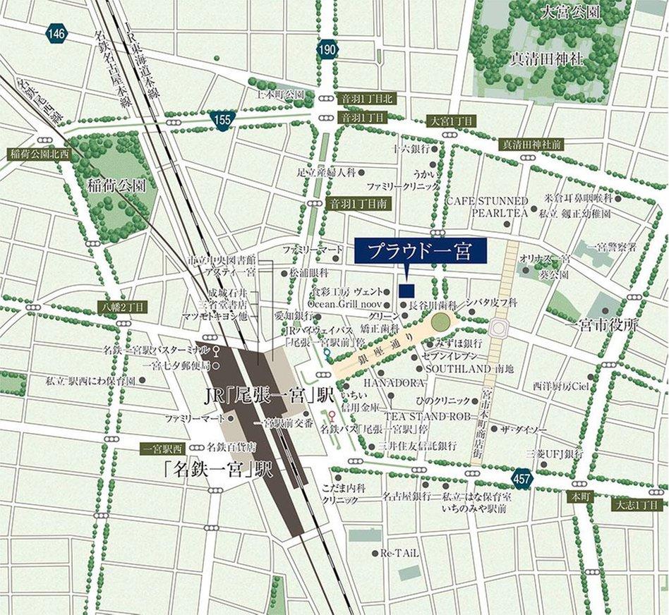 プラウド一宮の現地案内図