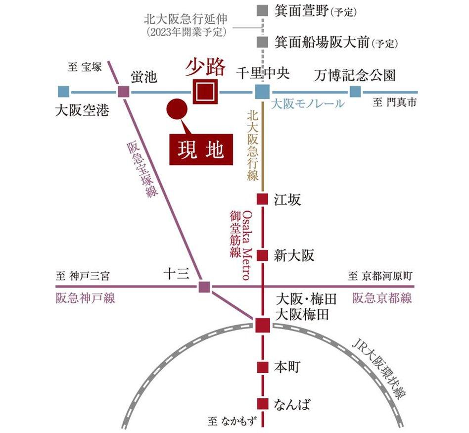 グランカサーレ豊中 ヒルズコートの交通アクセス図