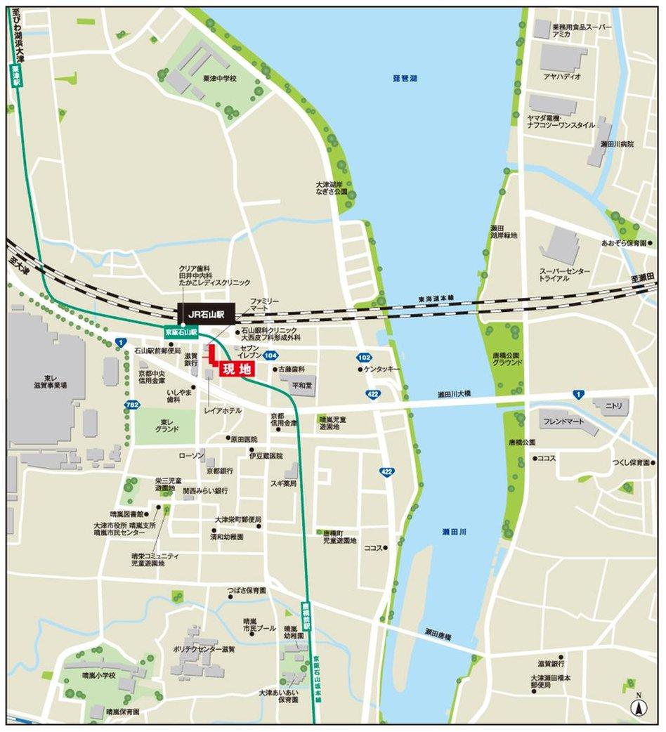 フェミネンス大津石山駅前の現地案内図