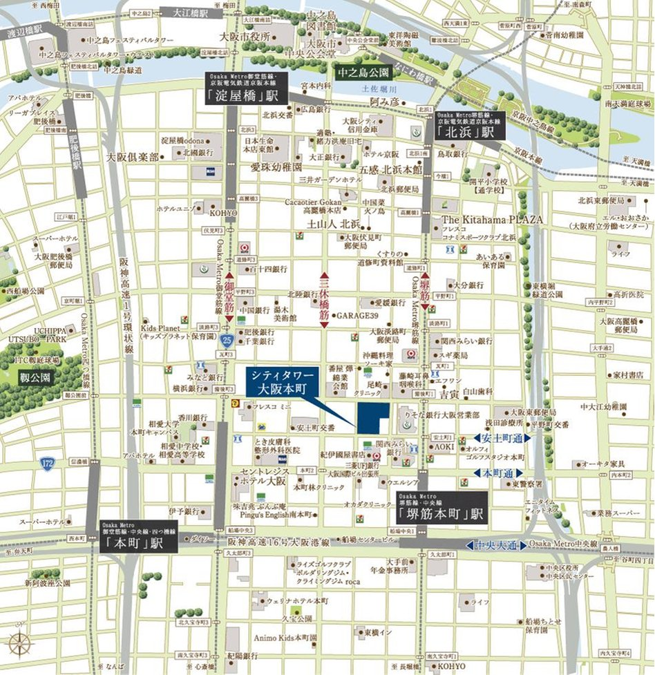 シティタワー大阪本町の現地案内図
