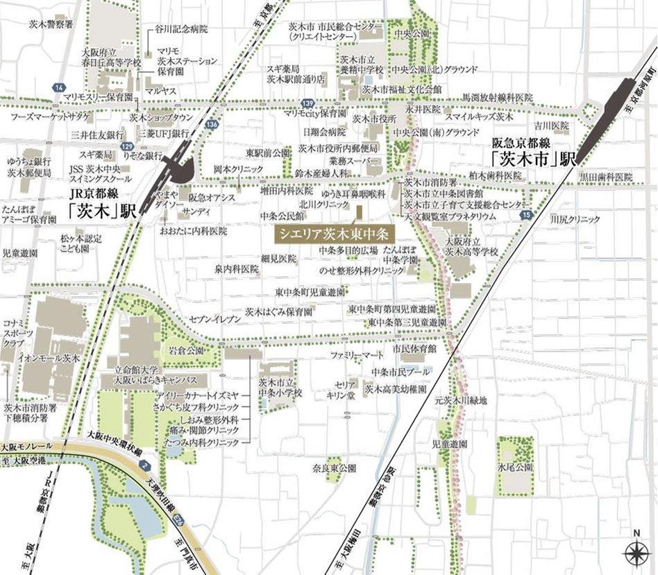 シエリア茨木東中条の現地案内図