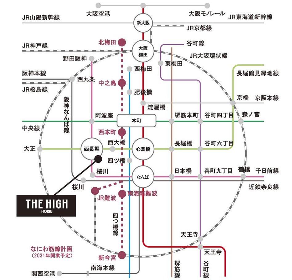 THE HIGH HORIEの交通アクセス図