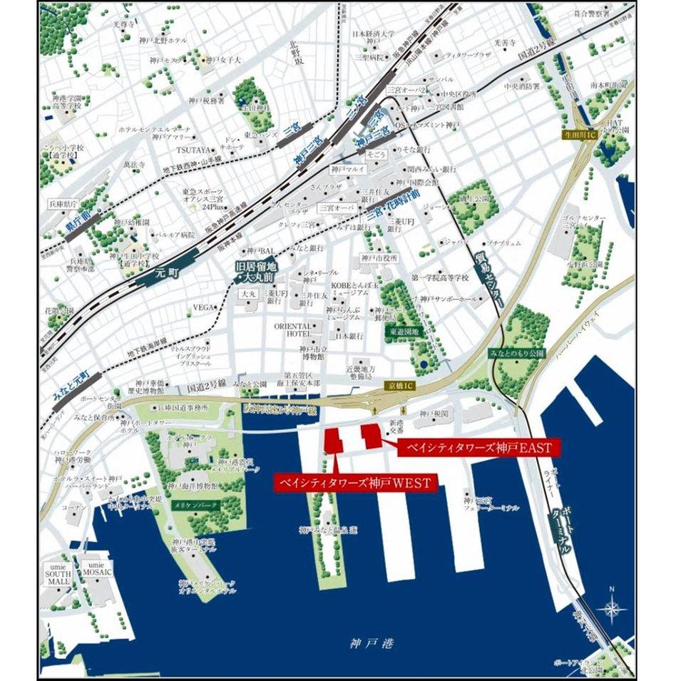ベイシティタワーズ神戸の現地案内図