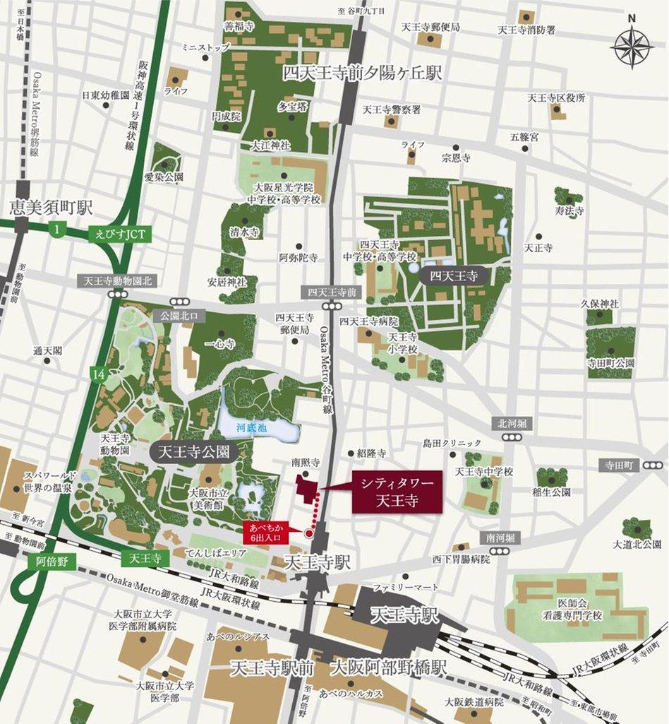 シティタワー天王寺の現地案内図