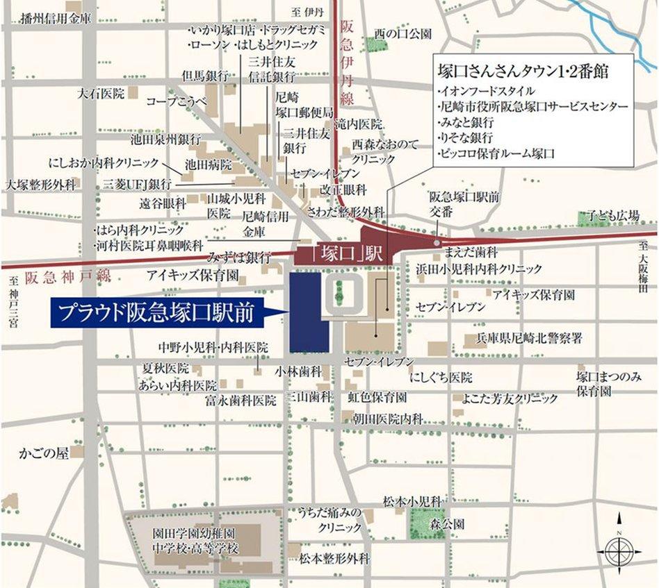 プラウド阪急塚口駅前の現地案内図