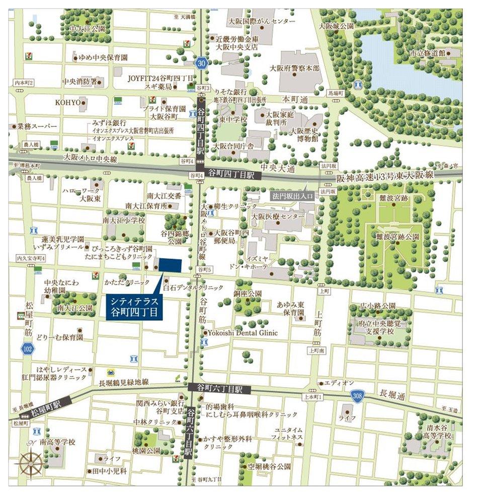 シティテラス谷町四丁目の現地案内図