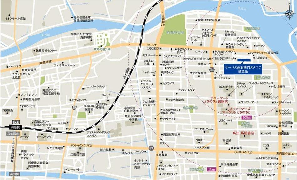 サーパス弥右衛門スクエアの現地案内図