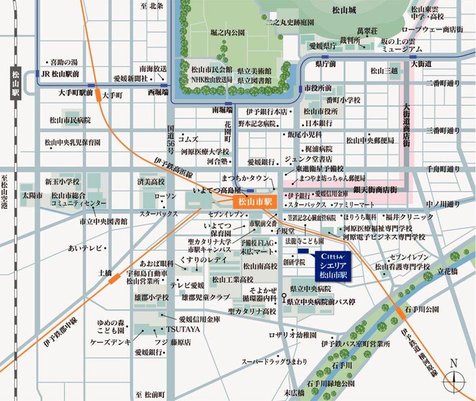 シエリア松山市駅の現地案内図