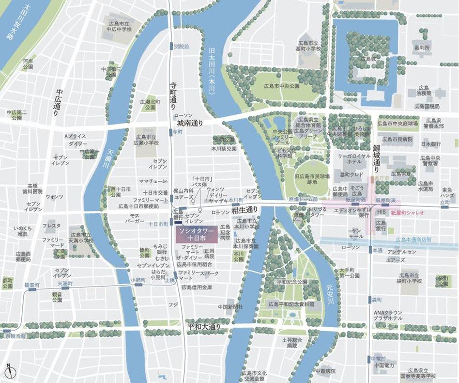 ソシオタワー十日市の現地案内図