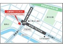 【店舗地図】東京メトロ東西線・大江戸線 「門前仲町」駅 4番出口より徒歩1分