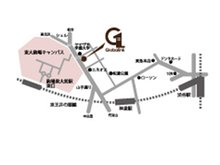 ご連絡いただくと渋谷駅までお迎えに上がります。店舗地図:山手通り沿い、ヤマザキ学園向い