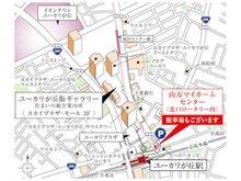店舗案内図です。北口のロータリー出て右側に店舗がございます。